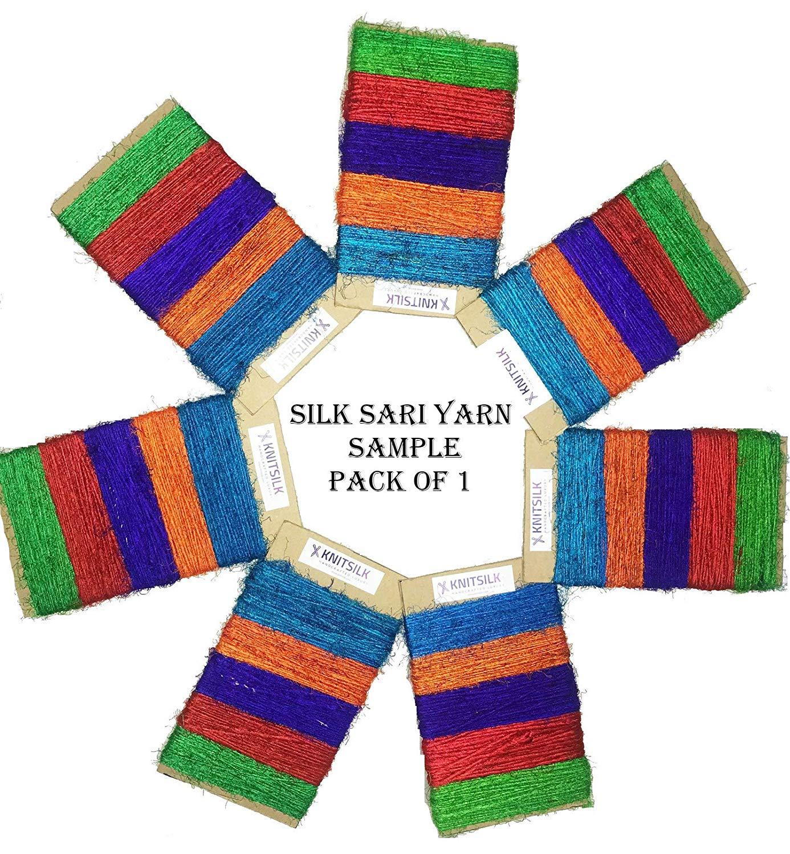 Recycled Sari Silk Yarn Pack 10 Colours of 10 GMS Knitsilk Mini Silk Yarn Pack of 10 Silk Yarn Starter kit Assorted Silk Yarn Bundle