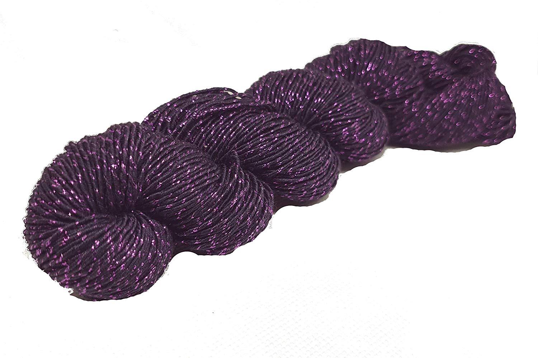 4 x 50g Balls of Tremori Knitting Yarn-Lilac with purple+hot pink flecks 3-ply