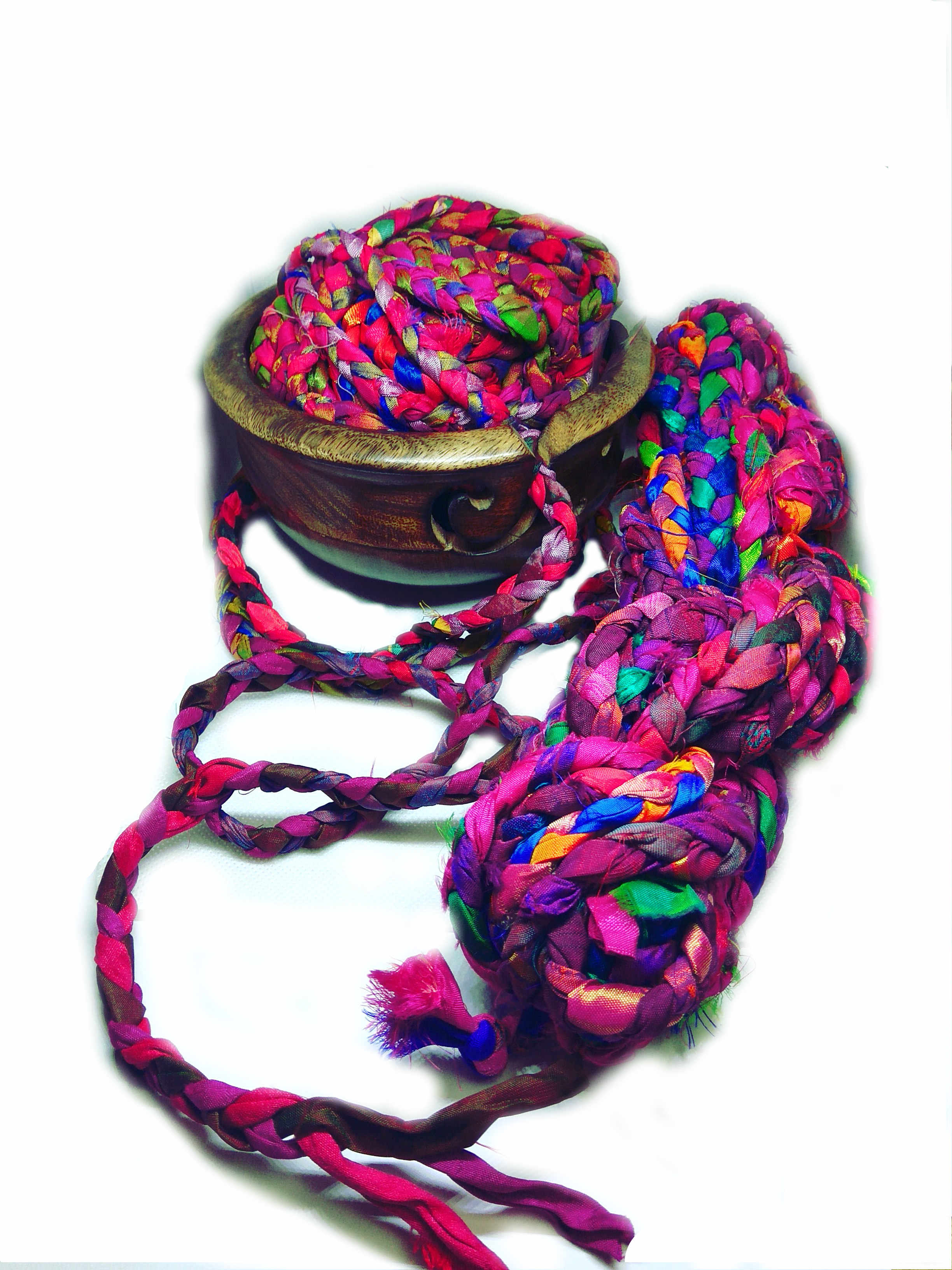 Recycled Multicolor Rope Fabric Art Yarn Recycled Sari Twine Vibrant Art Cord Indian Sari Silk Twine Handmade Cord Cording For Jewelry
